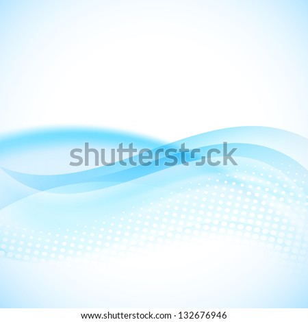blue flowing background with halftone - stock vector