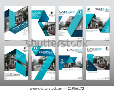 Blue fold set technology annual report brochure flyer design template vector, Leaflet cover presentation abstract geometric background, layout in A4 size - stock vector