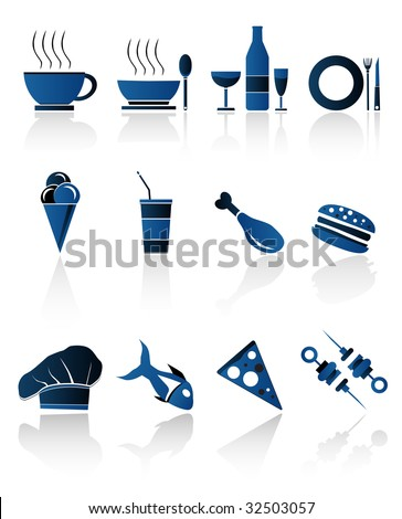 BLUE FOOD ICONS,Easy tot manipulate, resize or to edit - stock vector