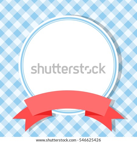 blue frame for invitation card with red ribbon