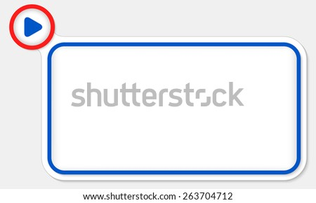 Blue frame for your text and play symbol - stock vector