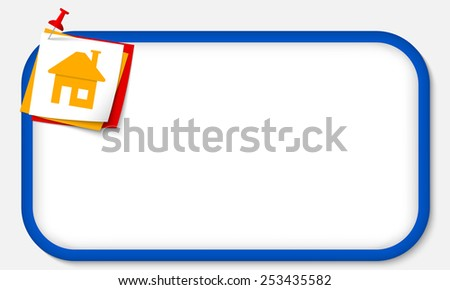 blue frame with pushpin and home symbol - stock vector