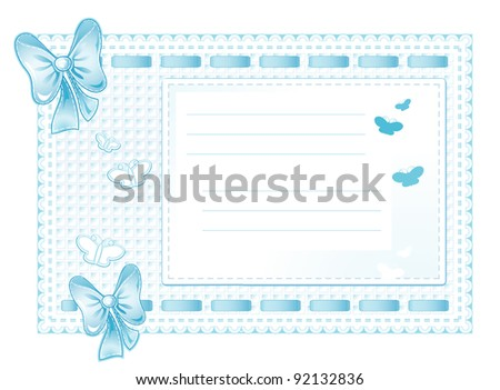 Blue framework made of cloth with bows, butterflies and place for the text
