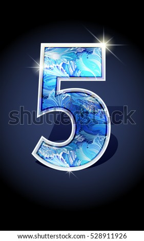 Blue frost winter number five on dark background isolated. Blue frost illustration number 5 for winter date design. Number 5 icon. Vector illustration stock vector.