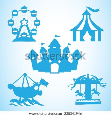 Blue fun park - stock vector