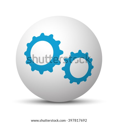 Blue Gears icon on sphere on white background
