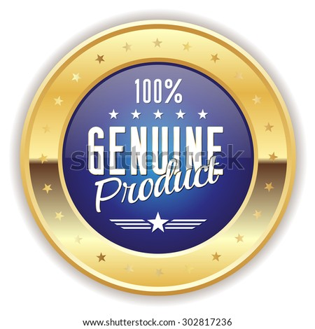 Blue genuine product badge with gold border on white background - stock vector