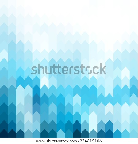 Blue geometric background with arrows pattern - stock vector