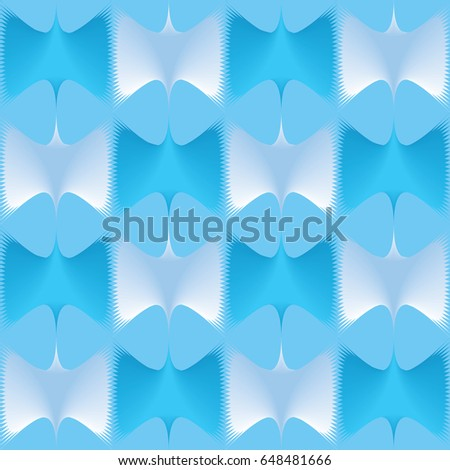 Blue geometric complex polygons background. Curvilinear triangles. A symmetrical pattern. A complex visual texture.