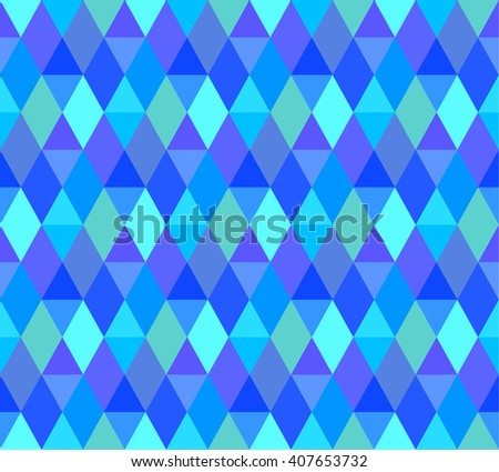 Blue Geometric Seamless Pattern. Abstract Background with Geometric Shape of Rhombus and Triangles.  - stock vector