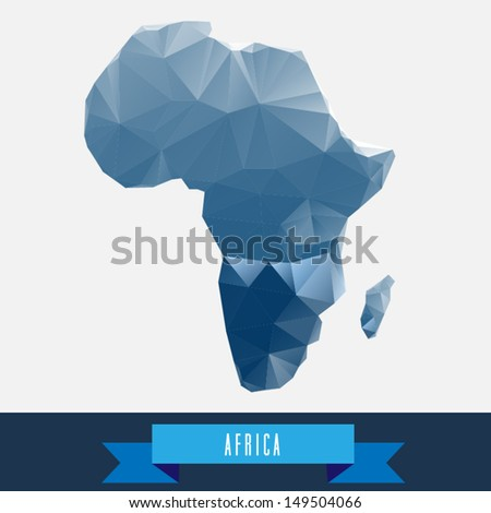 blue geometrical stylized africa map - stock vector