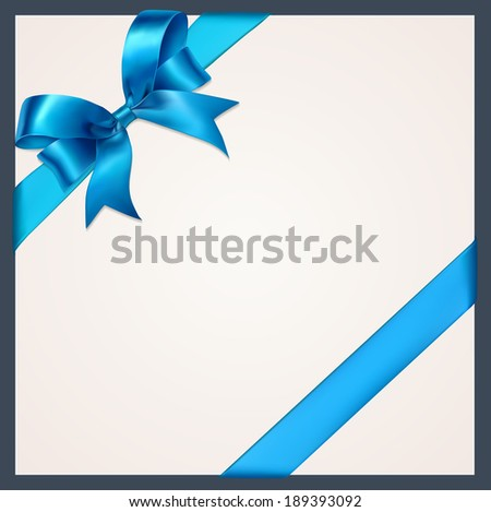 Blue gift bows with ribbons. Vector.  - stock vector