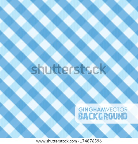 blue gingham background - stock vector