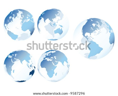 Blue glass earth - Multiple views of see-through, glass-like earth (vector) - stock vector