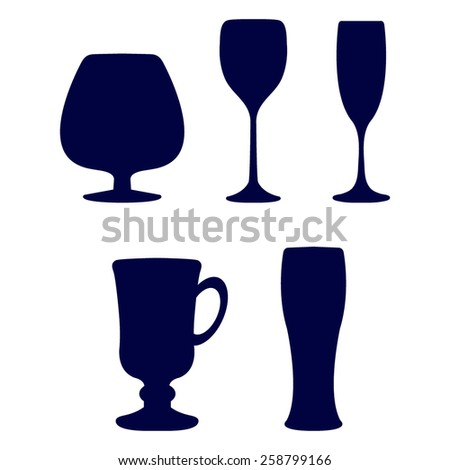 blue Glass set or collection - stock vector