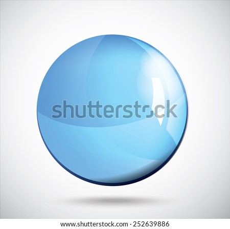 Blue glass sphere on the gray. Vector illustration. - stock vector
