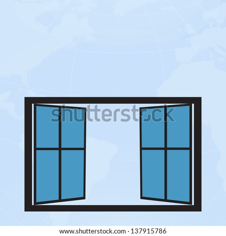 Blue glass window open with world map background,vector eps10 - stock vector