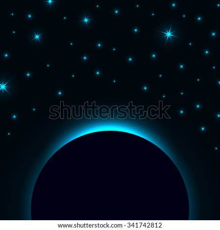 Blue Globe Earth Background. Night Sky With Stars. Vector Illustration - stock vector