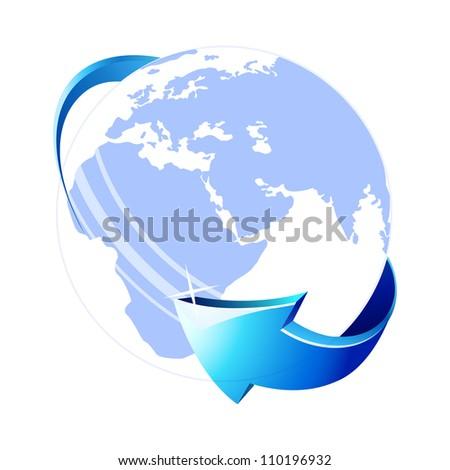 Blue globe icon . Vector illustration. Eps 10. - stock vector