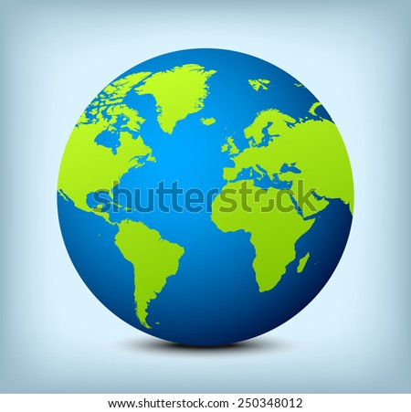 Blue globe icon with green continents and soft shadow on light blue background. - stock vector