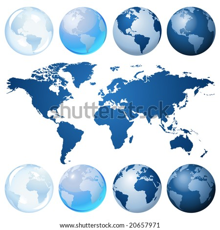 Blue globe kit and map, vector background. Items are placed on separate layers and editable.