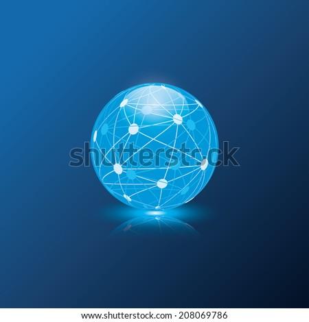 blue globe sphere. vector eps10 - stock vector