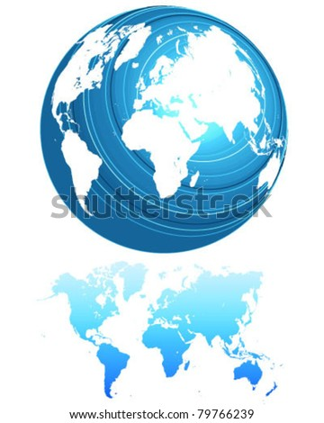 Blue globe that rotates and detailed map of the world-vector - stock vector