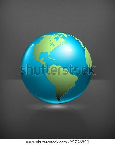 Blue globe, vector - stock vector