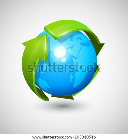 Blue globe with green arrow vector - stock vector