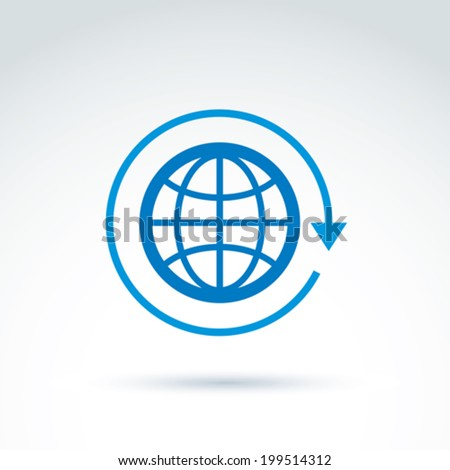 Blue globe with rotation and circulation icon, vector conceptual stylish symbol for your design. - stock vector