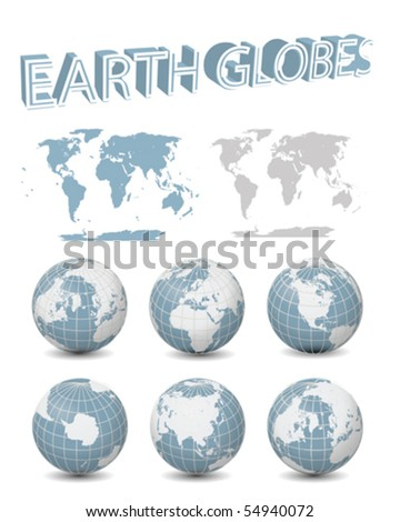 Blue Globes with maps Collection Vector - stock vector