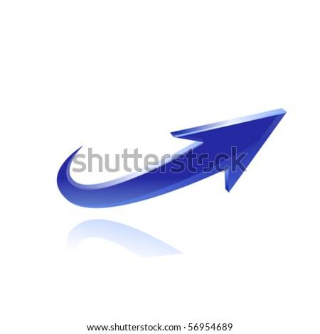 Blue glossy arrow. Vector - stock vector