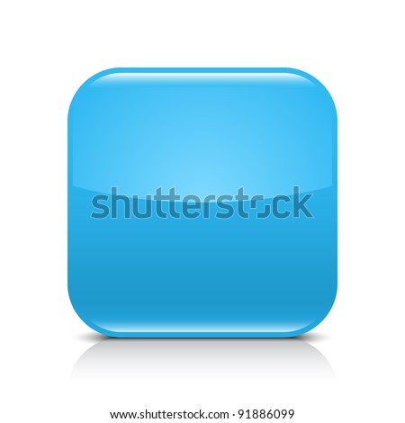 Blue glossy blank internet button. Rounded square shape icon with black shadow and gray reflection on white background. This vector illustration created and saved in 8 eps - stock vector