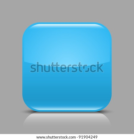 Blue glossy blank internet web button. Rounded square shape icon with black shadow and white reflection on light gray background. This vector illustration created and saved in 8 eps - stock vector