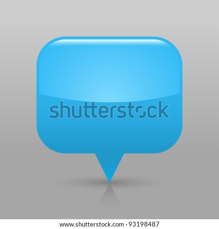 Blue glossy blank map pin icon. Rounded rectangle web button with shadow and reflection on light gray background. This vector illustration saved in 8 eps - stock vector