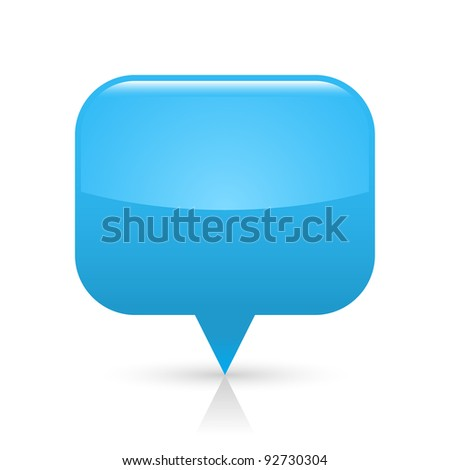 Blue glossy blank map pin icon web button. Rounded rectangle shape with gray shadow and reflection on white background. This vector illustration saved in 8 eps - stock vector