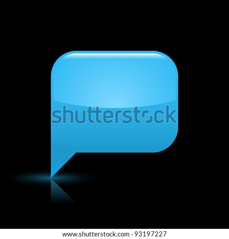 Blue glossy blank speech bubble web icon. Rounded rectangle shape button with glowing shadow and color reflection on black background. This vector illustration saved in file eps 8 - stock vector