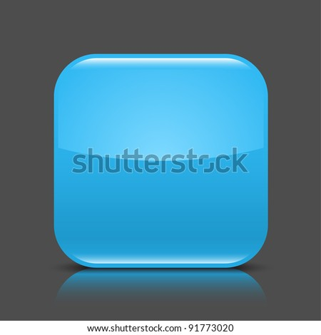 Blue glossy blank web button. Rounded square shape icon with black shadow and colored reflection on dark gray background. This vector illustration created and saved in 8 eps - stock vector