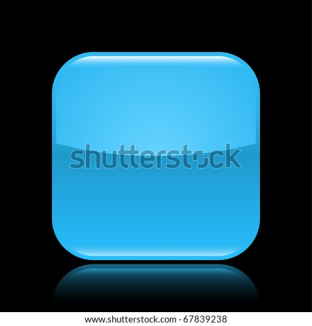 Blue glossy blank web 2.0 button with colored reflection on black background - stock vector