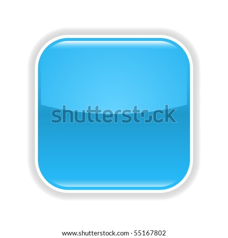Blue glossy blank web 2.0 button with gray shadow on white background