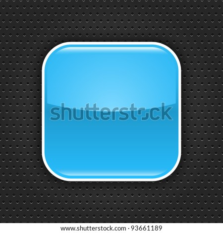 Blue glossy blank web button with white border frame. Rounded square shape icon with black shadow.  Dark gray background metal perforation texture. This vector illustration saved in 10 eps - stock vector