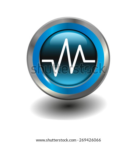 Blue glossy button with metallic elements and white icon heart rhythm, vector design for website - stock vector
