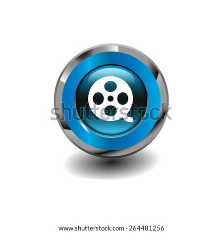 Blue glossy button with metallic elements and white icon motion picture film reel, vector design for website - stock vector