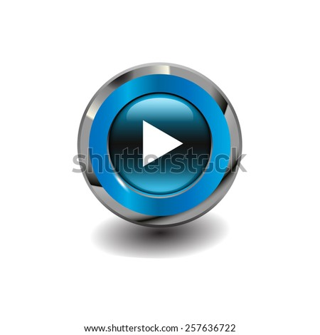 Blue glossy button with metallic elements and white icon play, vector design for website - stock vector