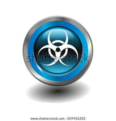 Blue glossy button with metallic elements and white icon virus, vector design for website - stock vector