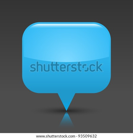Blue glossy empty blank map pin button. Rounded rectangle web icon with black shadow and color reflection on dark gray background. This vector saved in 8 eps. See more buttons in my gallery - stock vector