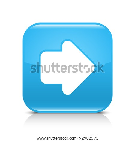 Blue glossy internet button with arrow right symbol. Rounded square shape icon with shadow and reflection on white background. This vector illustration created and saved in 8 eps - stock vector