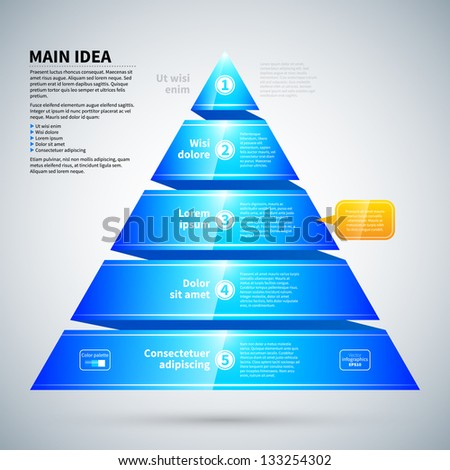Blue glossy pyramid chart. It's useful for infographics and presentations. - stock vector