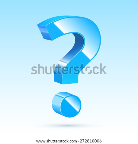 Blue, glossy, realistic question mark sign. Vector illustration