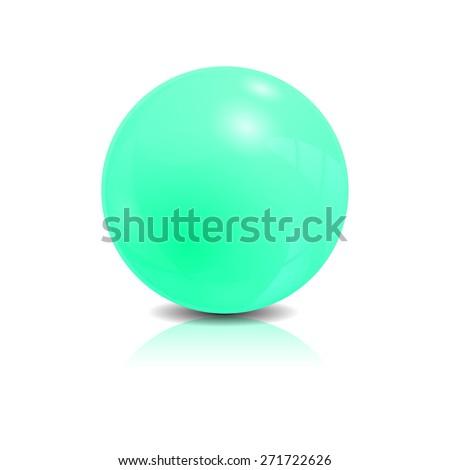 Blue glossy sphere isolated on white, vector illustration - stock vector